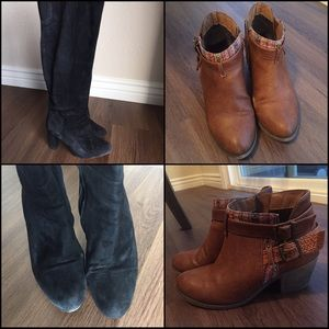 Set of Two Pairs of Boots, black and brown